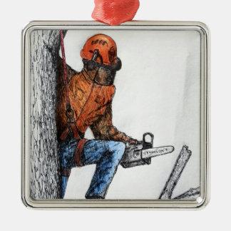 Arborist Tree Surgeon Stihl Silver-Colored Square Decoration