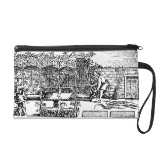 Arbour being built as a shade against the sun, fro wristlet purse