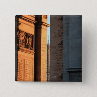 ARC DE TRIOMPHE and EIFFEL tower 2 15 Cm Square Badge