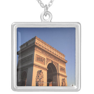 ARC DE TRIOMPHE and EIFFEL tower Silver Plated Necklace