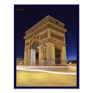 Arc de Triomphe de l Étoile in Paris night shot Photo