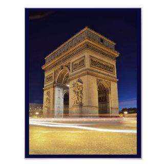 Arc de Triomphe de l'Étoile in Paris night shot Photographic Print