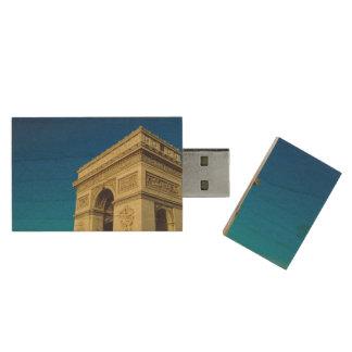 Arc de Triomphe, Paris, France Wood USB 2.0 Flash Drive