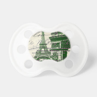 arc de triomphe vintage paris eiffel tower baby pacifier
