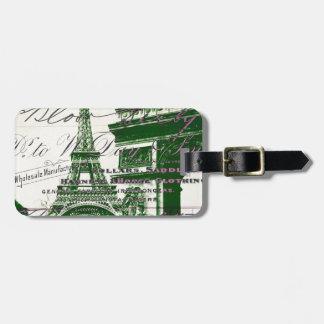 arc de triomphe vintage paris eiffel tower luggage tag