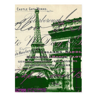 arc de triomphe vintage paris eiffel tower postcard