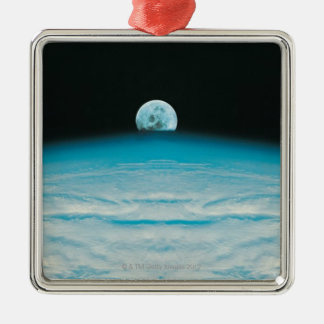 Arc of the Earth and Moon Silver-Colored Square Decoration