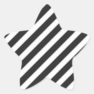 Arc Stripes Diagonal Black & White Pattern Star Sticker