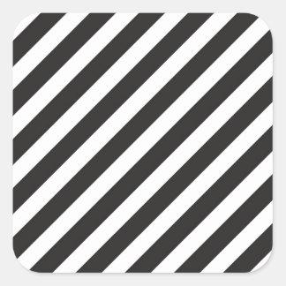 Arc Stripes Diagonal Black White Pattern Square Sticker