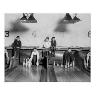 Arcade Bowling Alley, 1909. Vintage Photo Poster