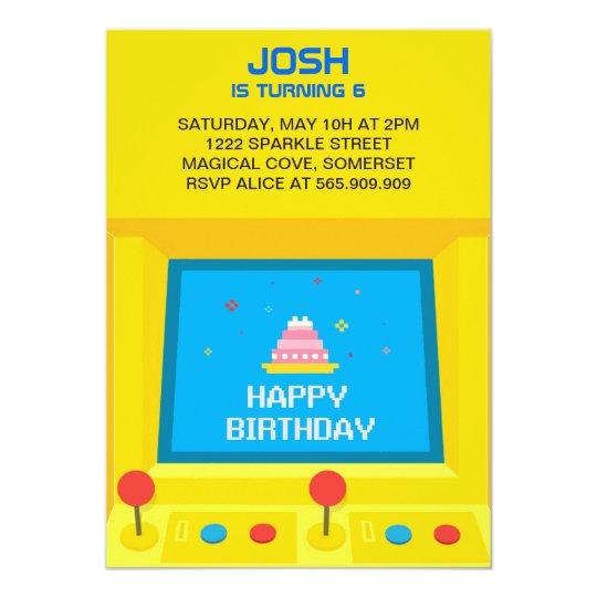 Arcade Gaming Birthday Invitation. Card