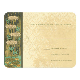 Arch Art Nouveau Dragonfly Lilypad Response Card