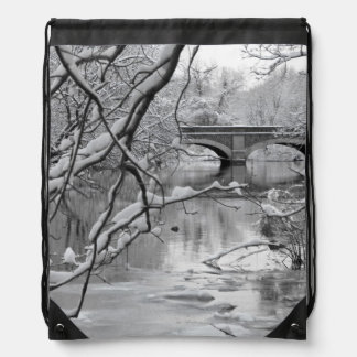 Arch Bridge over Frozen River in Winter Drawstring Bag