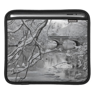Arch Bridge over Frozen River in Winter iPad Sleeve