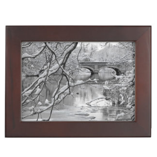 Arch Bridge over Frozen River in Winter Keepsake Box