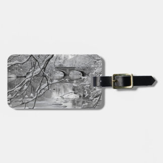 Arch Bridge over Frozen River in Winter Luggage Tag