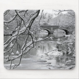 Arch Bridge over Frozen River in Winter Mouse Mat