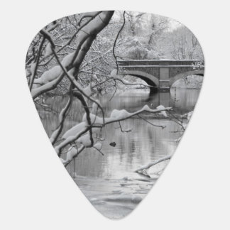 Arch Bridge over Frozen River in Winter Plectrum