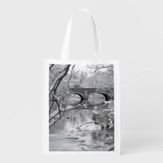 Arch Bridge over Frozen River in Winter Reusable Grocery Bag