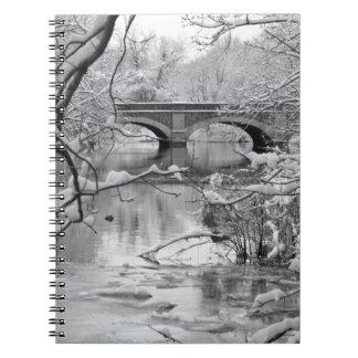 Arch Bridge over Frozen River in Winter Spiral Notebook