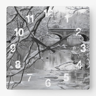 Arch Bridge over Frozen River in Winter Square Wall Clock