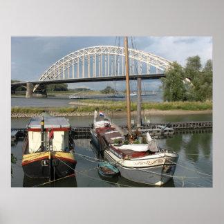 Arch Bridge, Ships & Boats Photo Poster Print