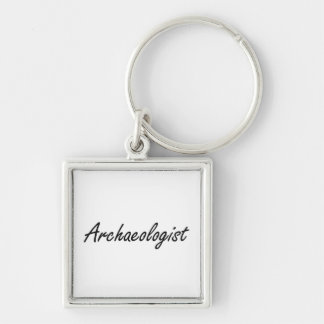 Archaeologist Artistic Job Design Silver-Colored Square Key Ring