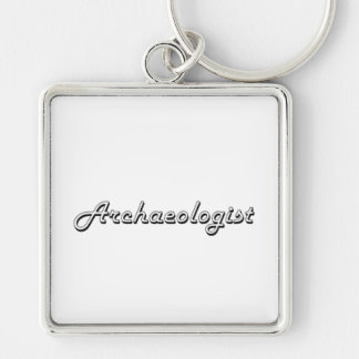Archaeologist Classic Job Design Silver-Colored Square Key Ring