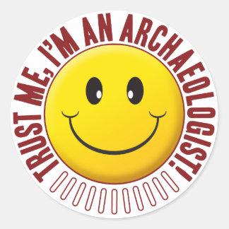 Archaeologist Trust Smiley Round Sticker