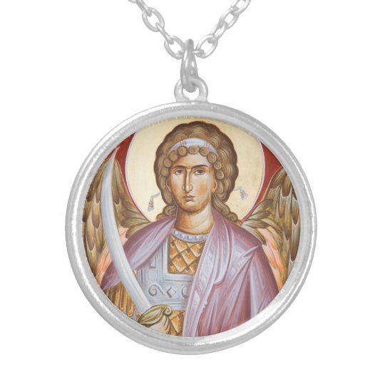 Archangel Michael Medium Silver Plated Pendant