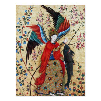 ARCHANGEL RAPHAEL AND FISH PARCHMENT POSTCARD