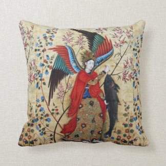 ARCHANGEL RAPHAEL AND FISH PARCHMENT THROW CUSHIONS