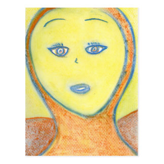 Archangel Uriel, Chalk Drawing, Art Postcard