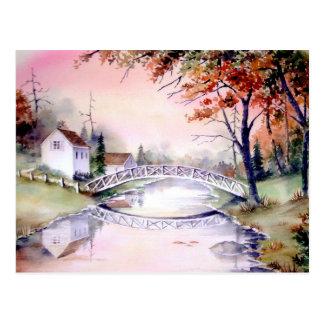 Arched Bridge Watercolor Painting Postcard