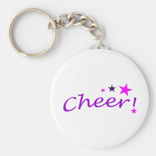 Arched Cheer with Stars Basic Round Button Key Ring