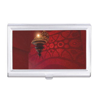 Arched entrance and illuminated lantern business card holder