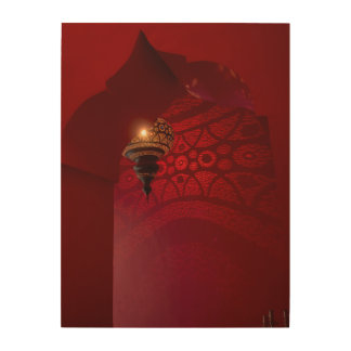 Arched entrance and illuminated lantern wood wall art