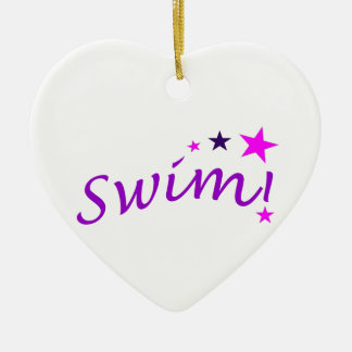 Arched Swim with Stars Christmas Ornament