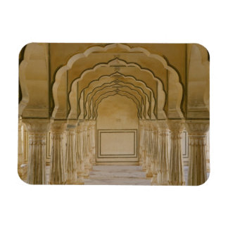 Arched walkway with columns inside Amber Palace, Rectangular Photo Magnet