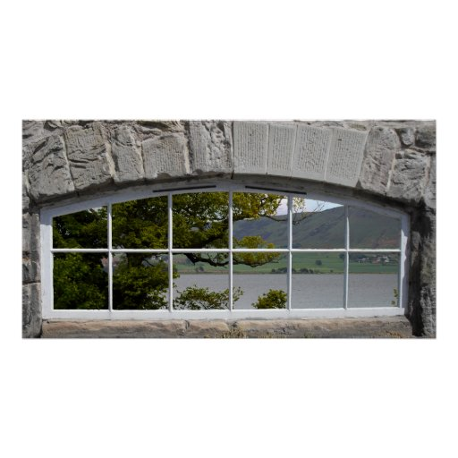 Arched Window with View of a Loch Posters