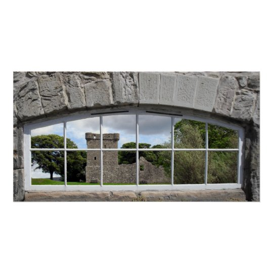 Arched Window with View of Scottish Castle Poster