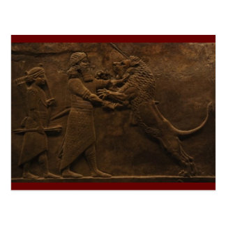Archeological Find: Assyrian Lion Hunt Fresco, Postcard