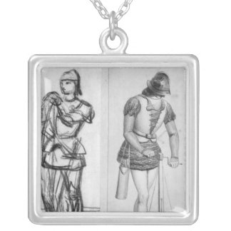 Archer and crossbowman silver plated necklace