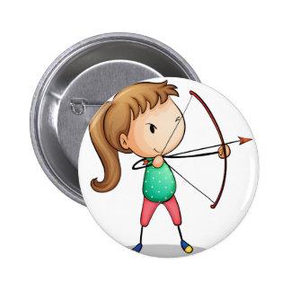 archer girl 6 cm round badge