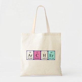 Archer periodic table name tote bag