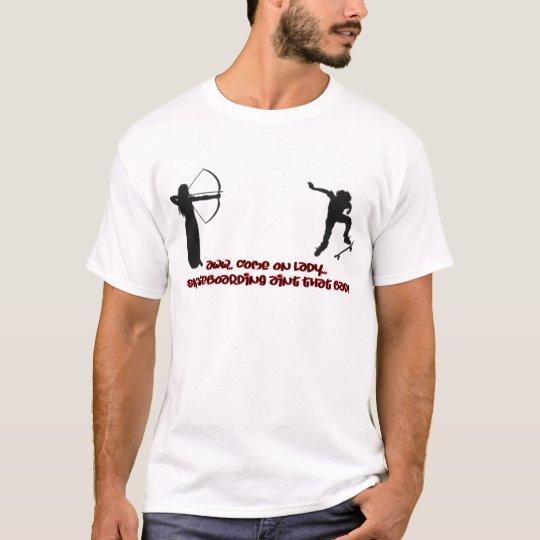 Archer Shooting At Skateboarder T-Shirt