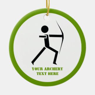 Archer with his bow black, green archery custom christmas ornament
