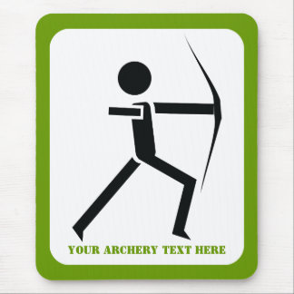 Archer with his bow black, green archery custom mouse pad
