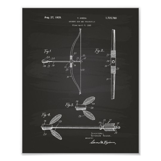 Archery Bow 1929 Patent Art Chalkboard Poster