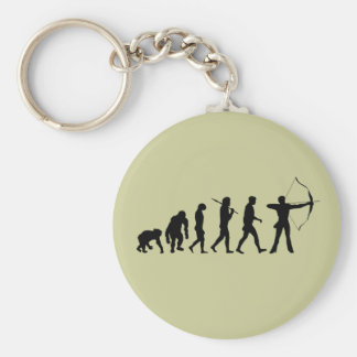 Archery Evolution of an Archery Bow and Arrow Basic Round Button Key Ring